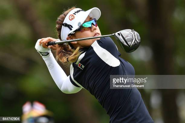 Jenny Shin of Republic of Korea plays the shot on 3rd hole during the Honda LPGA Thailand at Siam Country Club on February 24 2017 in Chonburi...