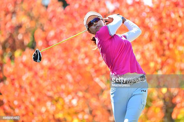 Jenny Shin of South Korea hits her tee shot on the 2nd hole during the first round of the TOTO Japan Classics 2015 at the Kintetsu Kashikojima...