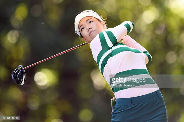 Jenny Shin of South Korea hits her tee shot on the 2nd hole during the final round of the TOTO Japan Classics 2016 at the Taiheiyo Club Minori Course...