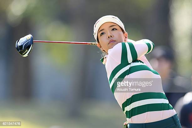 Jenny Shin of South Korea hits her tee shot on the 9th hole during the final round of the TOTO Japan Classics 2016 at the Taiheiyo Club Minori Course...
