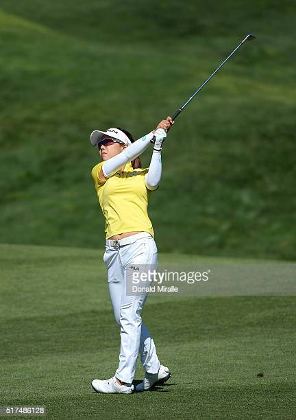 Jenny Shin of South Korea hits off the 9th fairway during Round Two of the KIA Classic at the Park Hyatt Aviara Resort on March 25 2016 in Carlsbad...