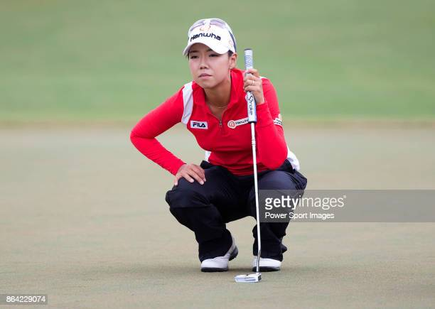 Jenny Shin of South Korea lines up a putt on the 6th hole during day three of the Swinging Skirts LPGA Taiwan Championship on October 21 2017 in...