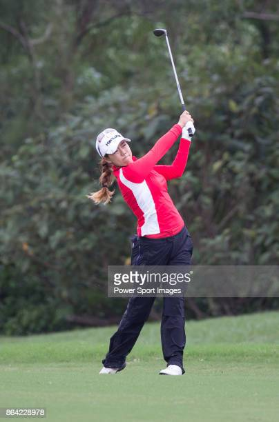 Jenny Shin of South Korea plays a shot on the 5th hole during day three of the Swinging Skirts LPGA Taiwan Championship on October 21 2017 in Taipei...