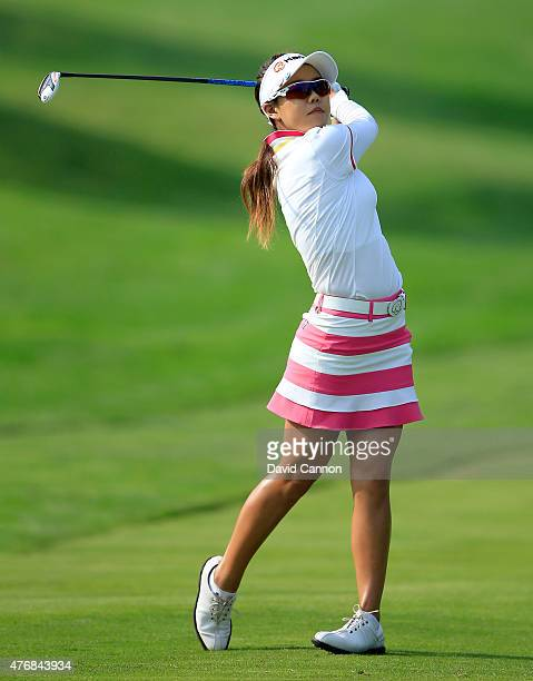 Jenny Shin of South Korea plays her second shot on the par 4 11th hole during the second round of the 2015 KPMG Women's PGA Championship on the West...