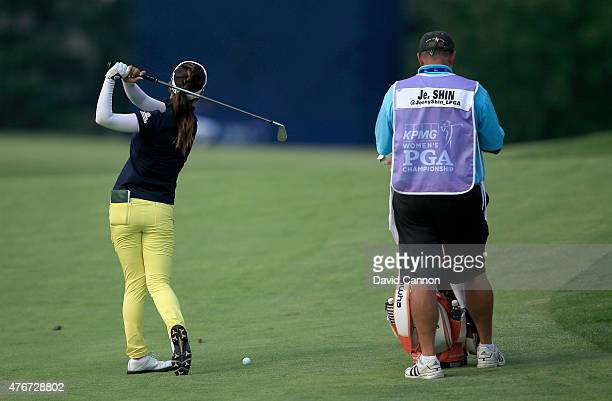 Jenny Shin of South Korea plays her second shot on the par 4 17th hole during the first round of the 2015 KPMG Women's PGA Championship on the West...