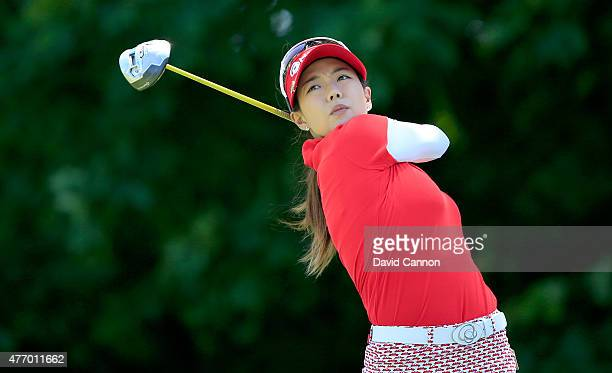 Jenny Shin of South Korea plays her tee shot on the par 4 2nd hole during the third round of the 2015 KPMG Women's PGA Championship on the West...