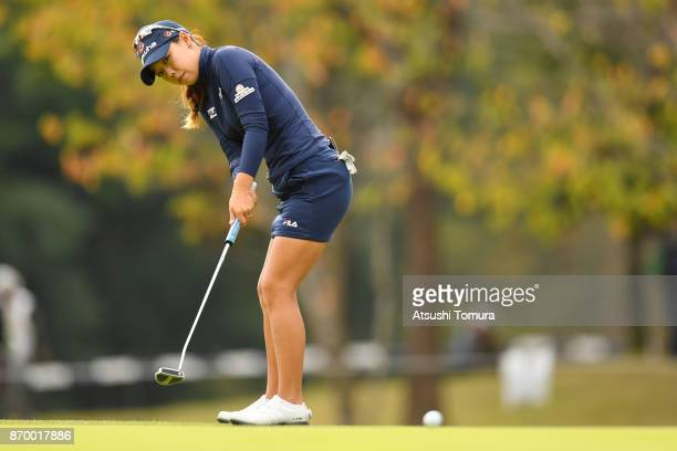 Jenny Shin of South Korea putts on the 9th hole during the second round of the TOTO Japan Classics 2017 at the Taiheiyo Club Minori Course on...