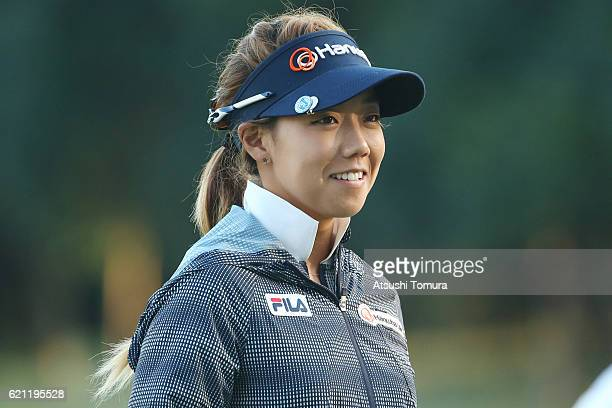 Jenny Shin of South Korea smiles during the second round of the TOTO Japan Classics 2016 at the Taiheiyo Club Minori Course on November 5 2016 in...