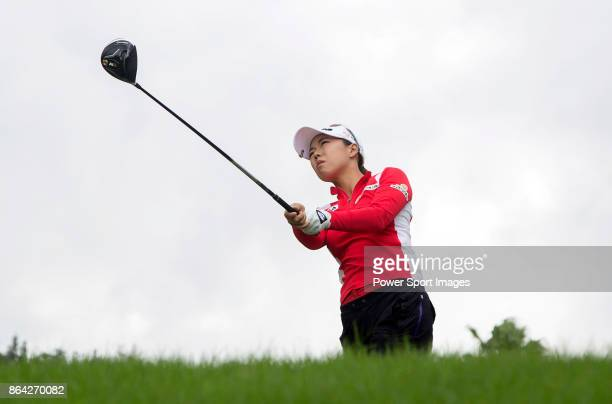 Jenny Shin of South Korea tees off on the 7th hole during day three of the Swinging Skirts LPGA Taiwan Championship on October 21 2017 in Taipei...