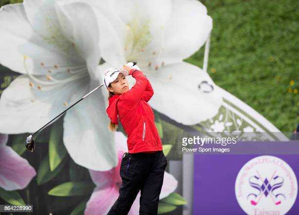 Jenny Shin of South Korea tees off on the 8th hole during day three of the Swinging Skirts LPGA Taiwan Championship on October 21 2017 in Taipei...