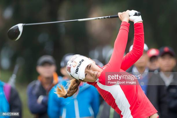 Jenny Shin of South Korea tees off on the 9th hole during day three of the Swinging Skirts LPGA Taiwan Championship on October 21 2017 in Taipei...