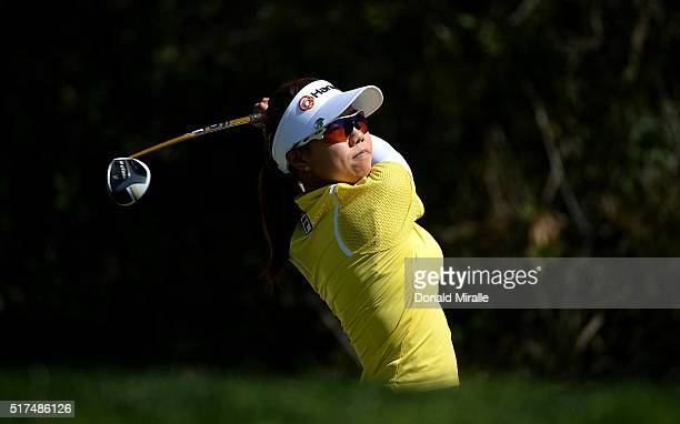 Jenny Shin of South Korea tees off the 9th hole during Round Two of the KIA Classic at the Park Hyatt Aviara Resort on March 25 2016 in Carlsbad...