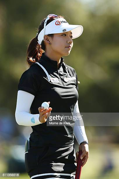 Jenny Shin of South Korea waves at the crowd after completing day three of the ISPS Handa Women's Australian Open at The Grange GC on February 20...