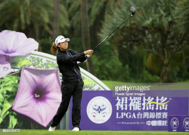 Jenny Shin of South Korean tees off on the 12th hole during day two of the Swinging Skirts LPGA Taiwan Championship on October 20 2017 in Taipei...