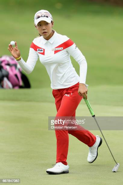 Jenny Shin of the Republic of Korea reacts to a putt on the ninth green during the first round of the LPGA LOTTE Championship Presented By Hershey at...