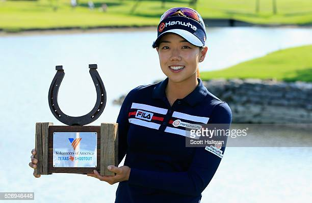 Jenny Shin poses with the trophy after her twostroke victory at the Volunteers of America Texas Shootout at Las Colinas Country Club on May 1 2016 in...