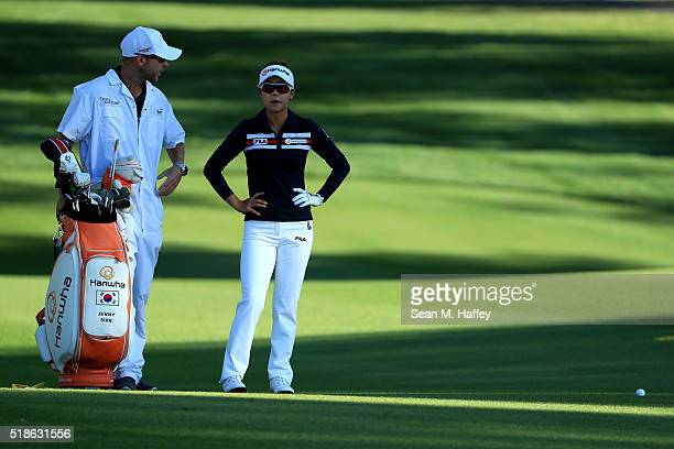 Jenny Shin prepares to take a shot on the 2nd hole during the 2016 ANA Inspiration Championship at the Mission Hills Country Club on March 31 2016 in...