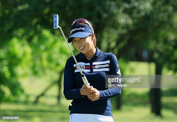Jenny Shin reacts to a missed putt on the 16th green during the final round of the Volunteers of America Texas Shootout at Las Colinas Country Club...