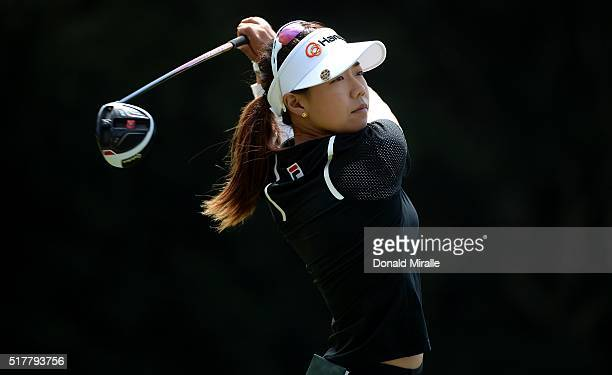 Jenny Shin tees off second hole during the final round of the KIA Classic at the Park Hyatt Aviara Resort on March 27 2016 in Carlsbad California