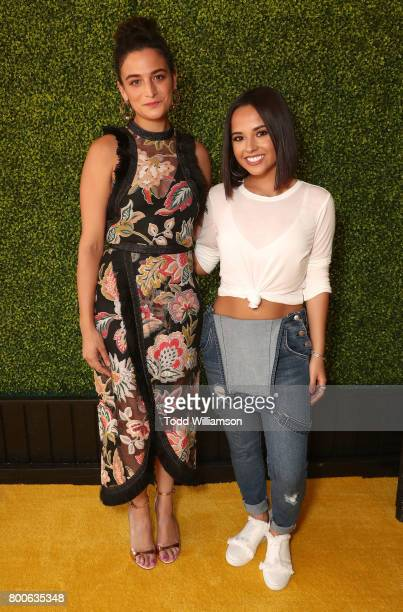 Jenny Slate and Becky G attend the Premiere Of Universal Pictures And Illumination Entertainment's 'Despicable Me 3' at The Shrine Auditorium on June...