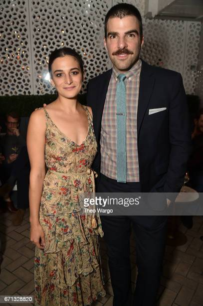 Jenny Slate and Zachary Quinto attend the 2017 Tribeca Film Festival After Party For Aardvark At La Sirena at La Sirena on April 21 2017 in New York...