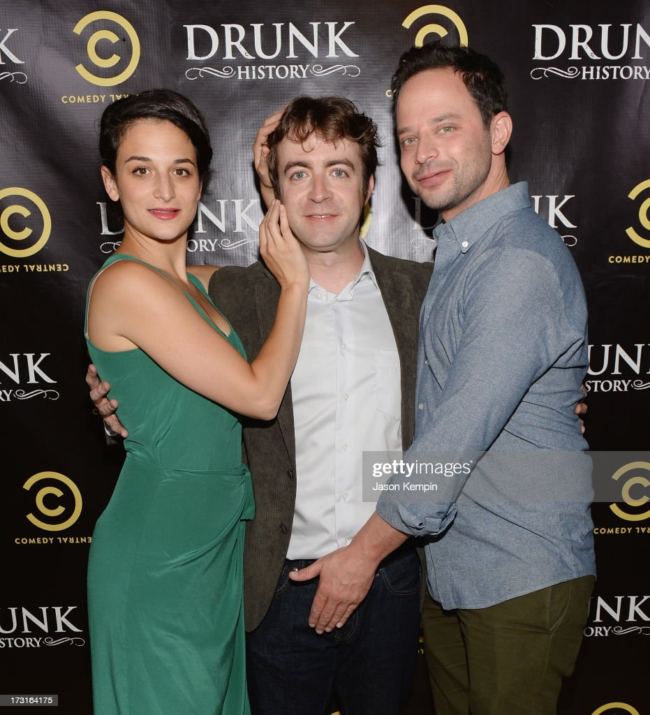 <a gi-track='captionPersonalityLinkClicked' href=/galleries/search?phrase=Jenny+Slate&family=editorial&specificpeople=6250499 ng-click='$event.stopPropagation()'>Jenny Slate</a>, Derek Waters and <a gi-track='captionPersonalityLinkClicked' href=/galleries/search?phrase=Nick+Kroll&family=editorial&specificpeople=4432339 ng-click='$event.stopPropagation()'>Nick Kroll</a> attend Comedy Central's 'Drunk History' Premiere Party at The Wilshire Ebell Theatre on July 8, 2013 in Los Angeles, California.