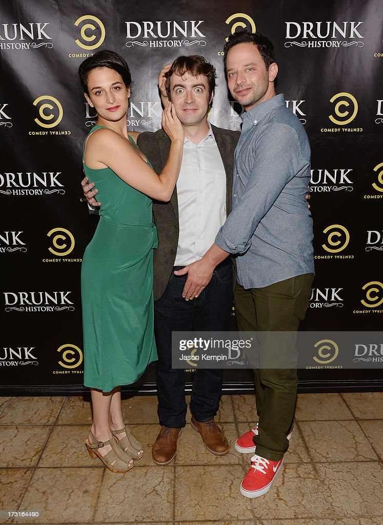 Jenny Slate, Derek Waters and Nick Kroll attend Comedy Central's 'Drunk History' Premiere Party at The Wilshire Ebell Theatre on July 8, 2013 in Los Angeles, California.