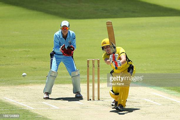Jenny Wallace of the Fury bats during the women's Twenty20 final match between the NSW Breakers and the Western Australia Fury at WACA on January 19...
