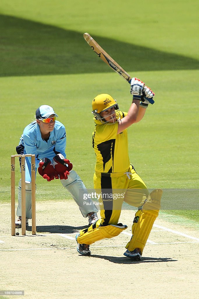 Jenny Wallace of the Fury hits out during the women's Twenty20 final match between the NSW Breakers and the Western Australia Fury at WACA on January 19, 2013 in Perth, Australia.