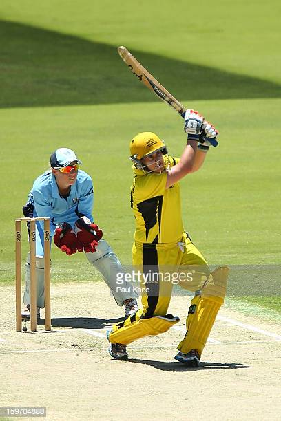 Jenny Wallace of the Fury hits out during the women's Twenty20 final match between the NSW Breakers and the Western Australia Fury at WACA on January...