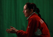 Jenny Wallwork of the England Badminton squad speaks with gathered media at the National Badminton Centre on February 23 2011 in Milton Keynes England