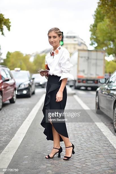Jenny Walton poses before the Miu Miu show at the Palais de Iena during Paris Fashion Week SS16 on October 7 2015 in Paris France