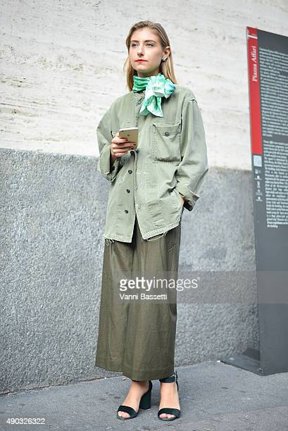 Jenny Walton poses before the Salvatore Ferragamo show during the Milan Fashion Week Spring/Summer 16 on September 27 2015 in Milan Italy