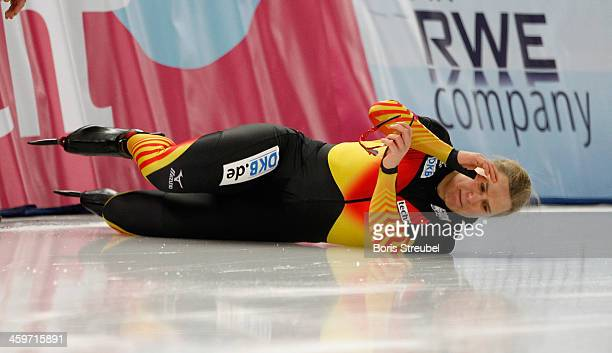 Jenny Wolf of Germany falls during the women's 500m Division A race during day one of the Essent ISU World Cup Speed Skating on December 6 2013 in...