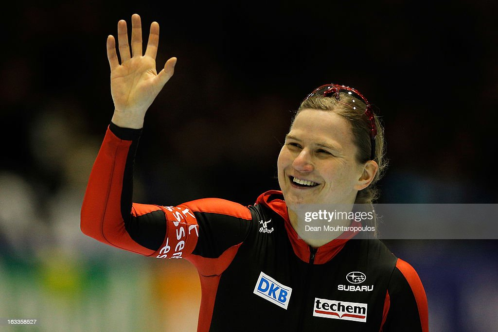 Jenny Wolfe of Germany celebrates victory in the 500m Ladies race during Day 1 of the Essent ISU World Cup Speed Skating Championships 2013 at Thialf Stadium on March 8, 2013 in Heerenveen, Netherlands.
