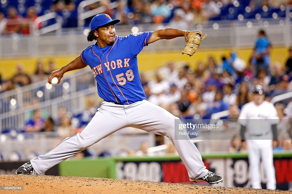 Jenrry Mejia #58 of the New York Mets pitches during the ninth inning of the game against the Miami Marlins at Marlins Park on September 2, 2014 in Miami, Florida.