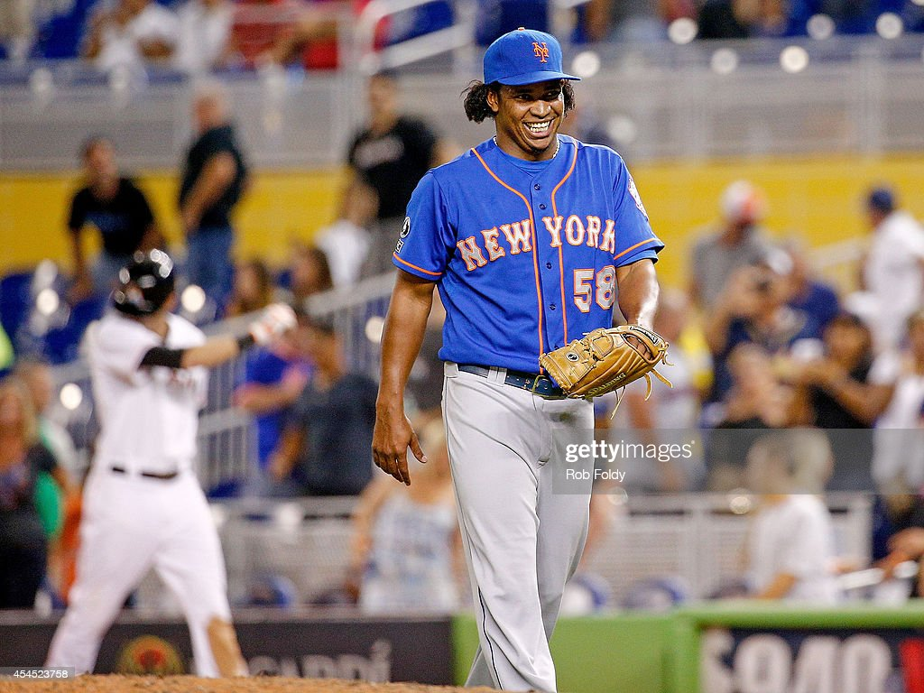 Jenrry Mejia #58 of the New York Mets reacts after the game against the Miami Marlins at Marlins Park on September 2, 2014 in Miami, Florida.