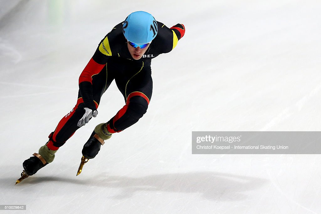 Jens Almey of Belgium during the men 5000m relay semi-final first heat during Day 2 of ISU Short Track World Cup at Sportboulevard on February 13, 2016 in Dordrecht, Netherlands.