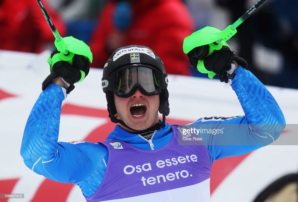 Jens Byggmark of Sweden celebrates in the finish area on the way to finishing second in the Men's Slalom during the Alpine FIS Ski World Championships on the Gudiberg course on February 20, 2011 in Garmisch-Partenkirchen, Germany.