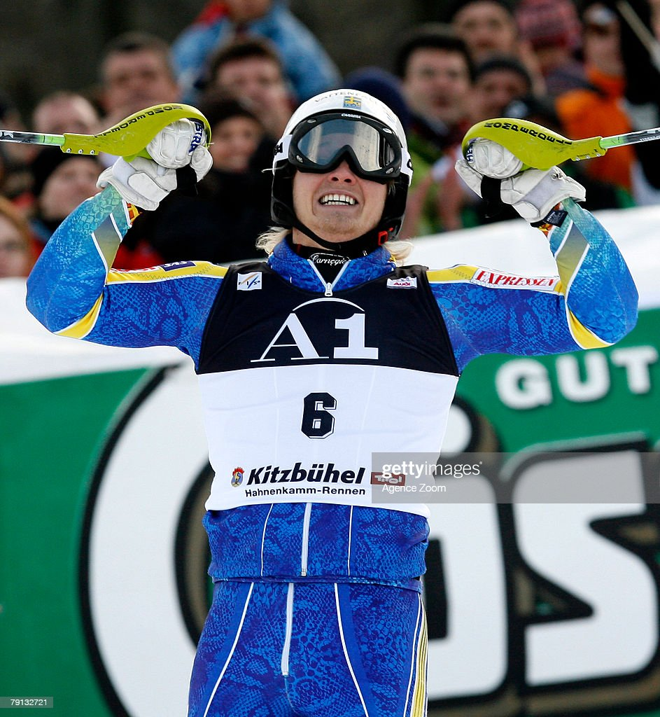 Jens Byggmark of Sweden celebrates taking 2nd place during the Alpine FIS Ski World Cup Men's Slalom on January 20, 2008 in Kitzbuehel, Austria.
