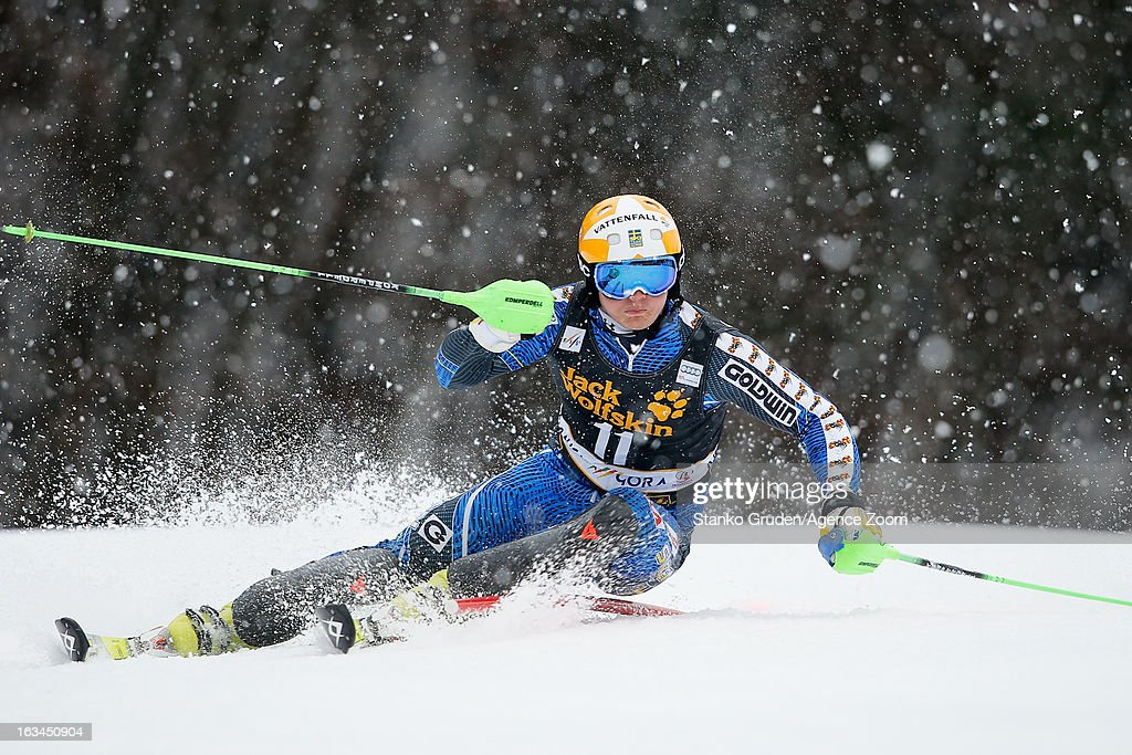 Jens Byggmark of Sweden competes during the Audi FIS Alpine Ski World Cup Men's Slalom on March 10, 2013 in Kranjska Gora, Slovenia.
