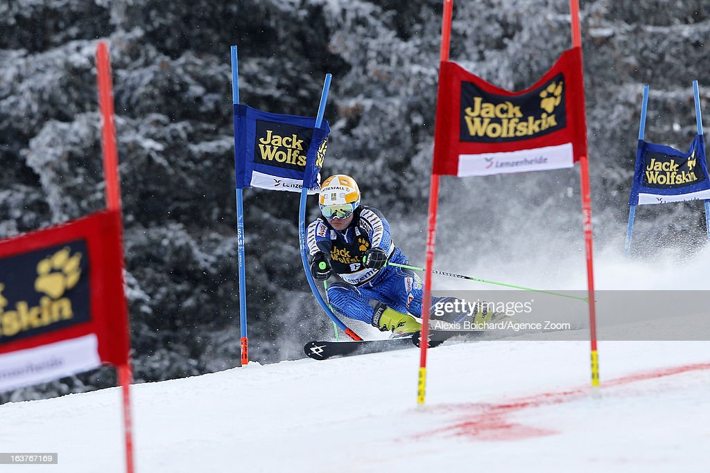 <a gi-track='captionPersonalityLinkClicked' href=/galleries/search?phrase=Jens+Byggmark&family=editorial&specificpeople=4018801 ng-click='$event.stopPropagation()'>Jens Byggmark</a> of Sweden competes during the Audi FIS Alpine Ski World Cup Nation's Team event on March 15, 2013 in Lenzerheide, Switzerland.