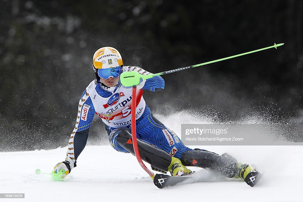 <a gi-track='captionPersonalityLinkClicked' href=/galleries/search?phrase=Jens+Byggmark&family=editorial&specificpeople=4018801 ng-click='$event.stopPropagation()'>Jens Byggmark</a> of Sweden competes during the Audi FIS Alpine Ski World Cup Men's Slalom on March 17, 2013 in Lenzerheide, Switzerland.