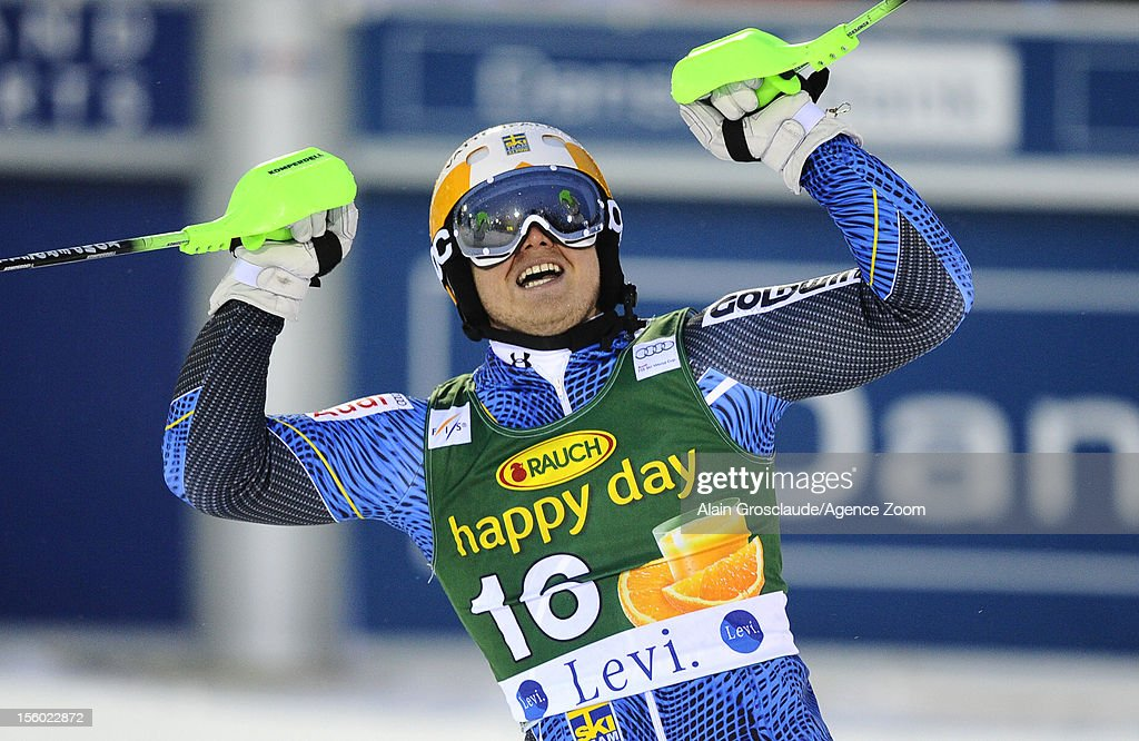 Jens Byggmark of Sweden takes 3rd place during the Audi FIS Alpine Ski World Cup Men's Slalom on November 11, 2012 in Levi, Finland.
