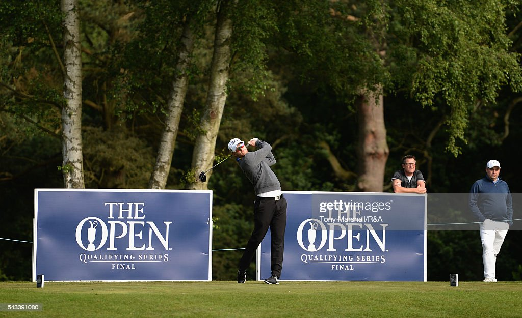 Jens Dantorp of Sweden plays his first shot on the 1st tee during the Open Championship Qualifying - Woburn at Woburn Golf Club on June 28, 2016 in Woburn, England.