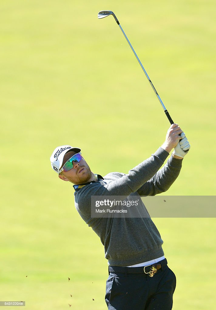 Jens Dantorp of Sweden second shot to the 1st during the final day of the 2016 SSE Scottish Hydro Challenge at the MacDonald Spey Valley Golf Course on June 26, 2016 in Aviemore, Scotland.