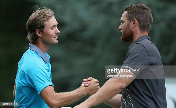 Jens Fahrbring of Sweden and Lucas Bjerregaard of Denmark shakes hands on the ninth hole during the second round of the 72nd Open d'Italia at Golf...