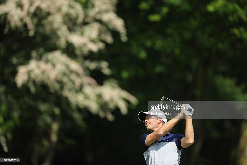 Jens Fahrbring of Sweden hits his 2nd shot on the 6th hole during day two of the BMW PGA Championship at Wentworth on May 27, 2016 in Virginia Water, England.