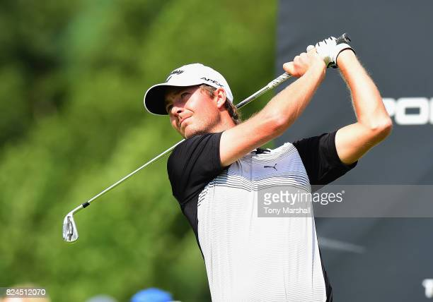 Jens Fahrbring of Sweden plays his first shot on the 2nd tee during the Porsche European Open Day Four at Green Eagle Golf Course on July 30 2017 in...