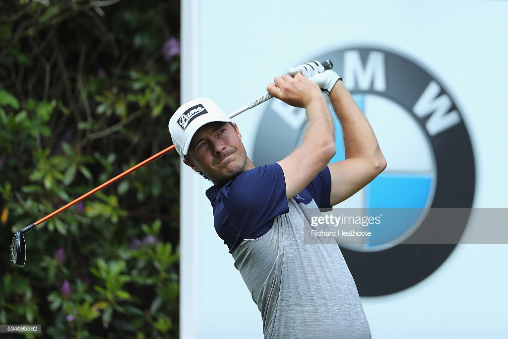 Jens Fahrbring of Sweden tees off on the 7th hole during day two of the BMW PGA Championship at Wentworth on May 27, 2016 in Virginia Water, England.